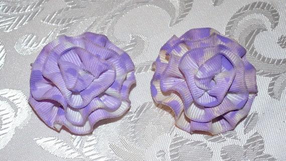 Vintage Lavender Rosette Shoe Clips
