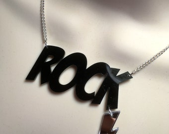 ROCK...statement necklace with hanging flash