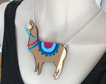 Large statement llama acrylic necklace