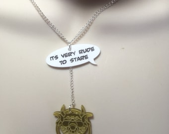 """Labyrinth inspired Knocker with """"its very rude to stare"""" quote ...laser cut necklace"""