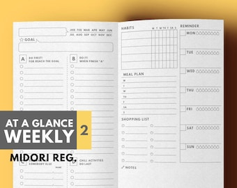 Weekly Planner for TN Insert Printable | Digital prints | PDF
