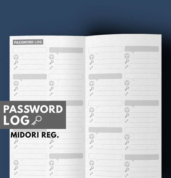 photo relating to Midori Insert Printable called Pword log printable for Midori add Pword Magazine Printable  Midori Printable Pword Log Planner Printable GetwellPlan