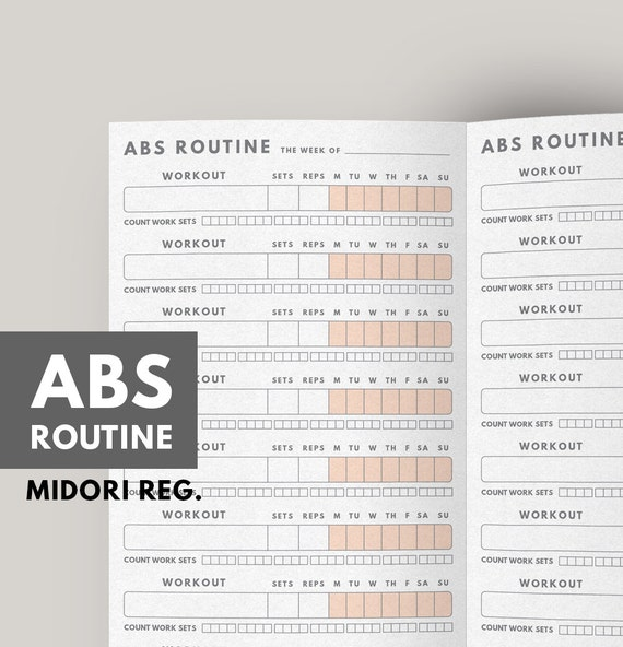 fitness planner abs workout routine fitness journal etsy