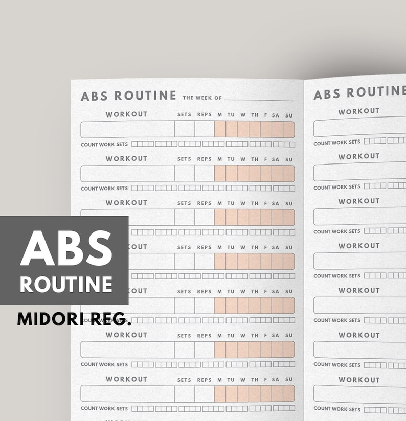 image about Printable Workout Routines titled Exercise Planner, Ab muscles Work out Plan, Conditioning magazine printable, Exercise Tracker, Physical fitness magazine, Midori Refill, Nutritious Practice, Fitness