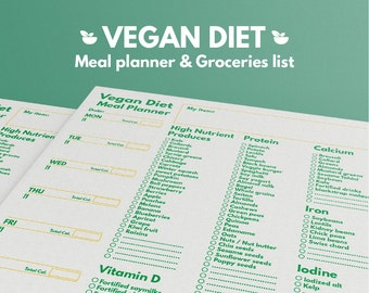 Weekly Meal Planner Vegan Diet and Grocery List Printable Letter, Health Planner, Weekly meal planner, Diet planner, Calories ,Shopping list