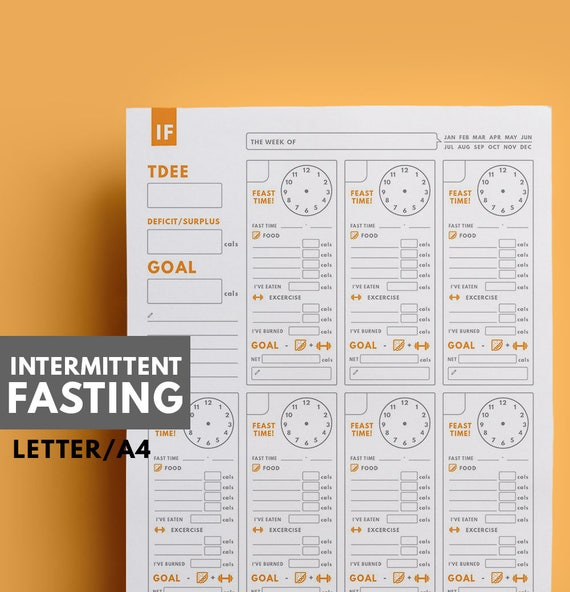Intermittent Fasting planner   IF Fasting Planner   IF Meal Planner    Weight Loss Planner   Letter Size,A4 Size   GetWellPlan