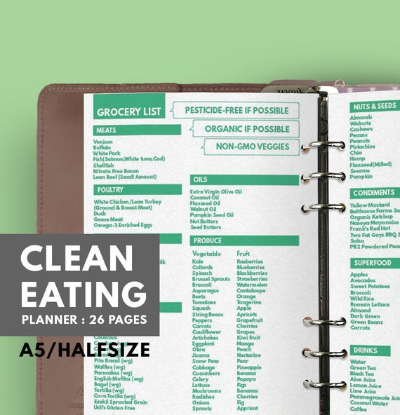 clean eating planner printable a5 halfsize health planner etsy
