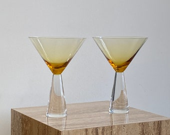 Deco Martini Glasses ~ Abstract Modern drink ware - curated vintage home decor