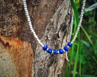 Celestial Blue Lapis with Fine Sterling Silver Beads
