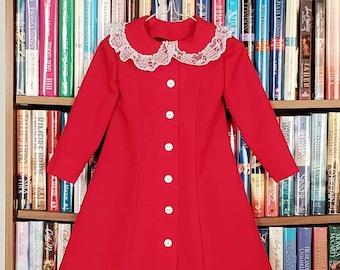 Size 2T Girls Gabardine Button Front Holiday Dress