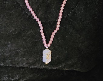 Matinee length Pink and Gold Necklace