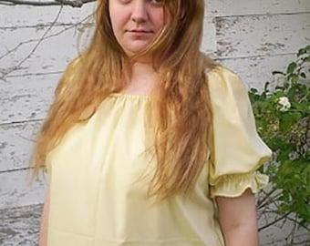 Womens Short Sleeve Peasant Blouse Gypsy Bar Wench