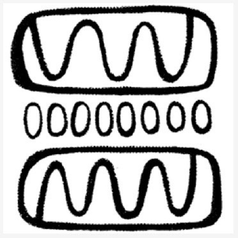 Unmounted Rubber Stamp Line Drawing with Squigglies