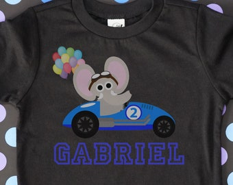 Race Car Theme Birthday Shirt For 2nd Elephant Driver On Black Short Sleeve Personalized Kids