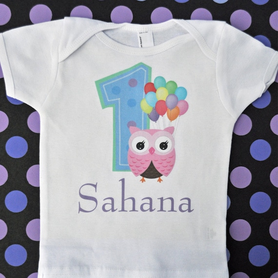 Girls Personalized Owl 1st Birthday Shirt 1 Year Old