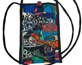 Women's Handmade Recycled Cross Body Cell Phone Silk and Cotton Collage Bag - LRW DESIGNS