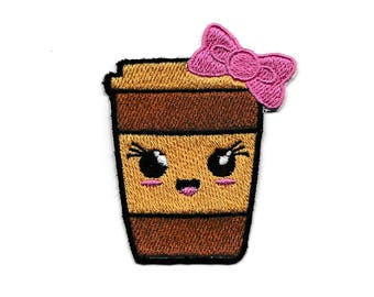 Happy Coffee Cup Patch! Custom Made! AP146