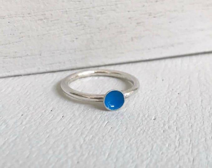 Blue enamel silver stacking ring