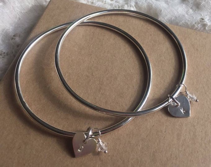 Silver bangle with personalised heart and swarovski crystal initial heart