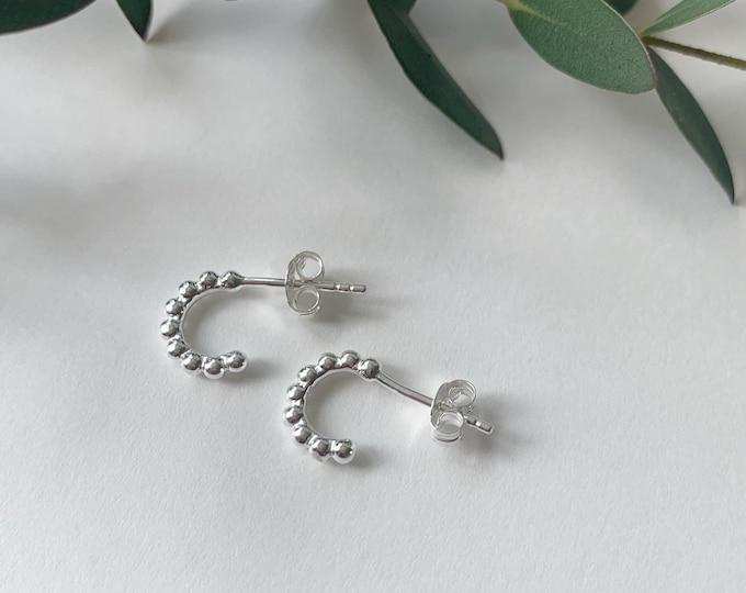Small beaded hoop earrings huggies sterling silver