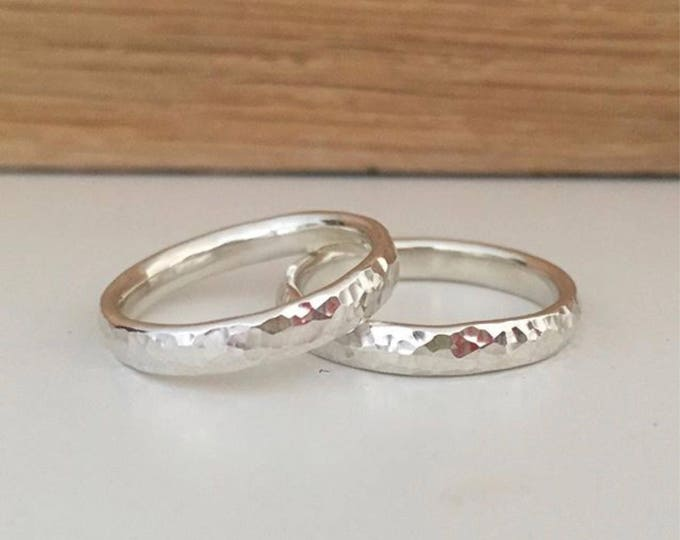 Hammered silver ring 3mm wide