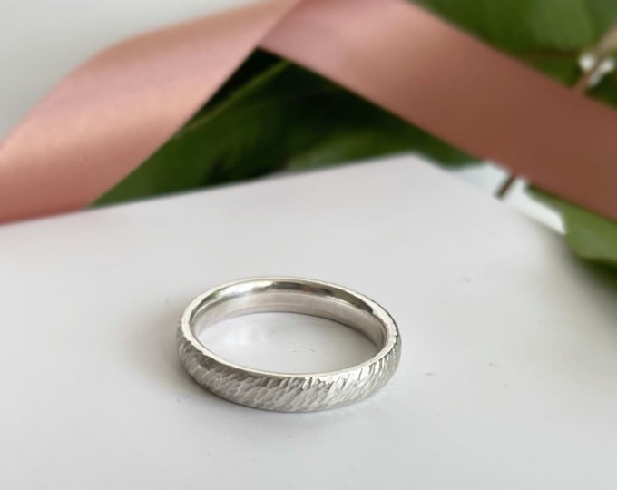 """Textured band in sterling silver """"drift"""" texture"""