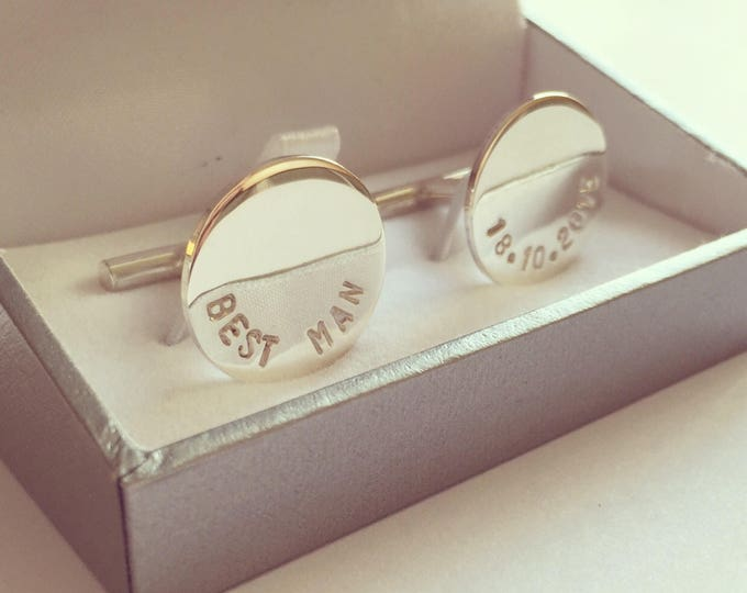 Personalised sterling silver cufflinks round