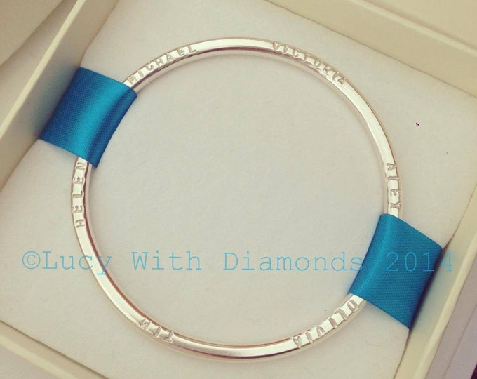 Heavy personalised name bangle in sterling silver