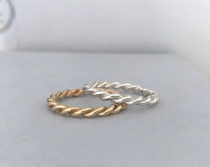 Classic twist ring available in silver, 9ct yellow gold and 9ct rose gold