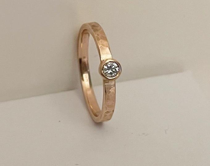 9ct Rose Gold Diamond ring 0.10ct hammered finish