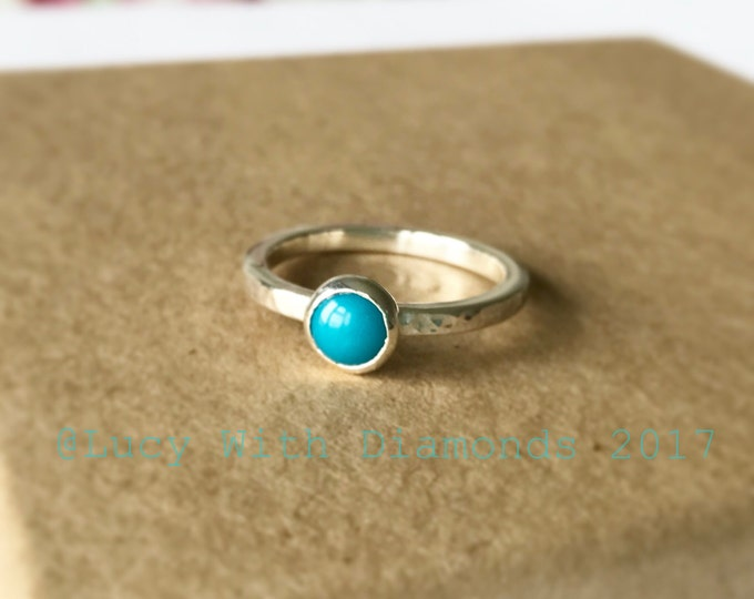 Turquoise silver stacking ring with hammered finish