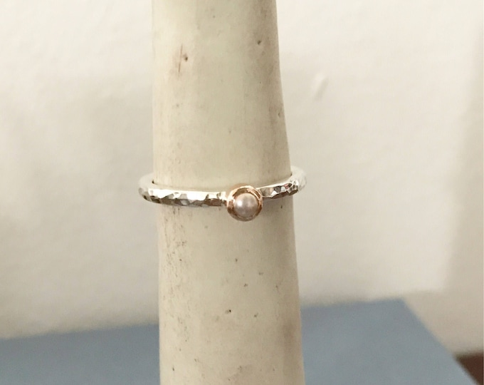 Silver and 9ct rose gold pearl stacking ring hammered finish