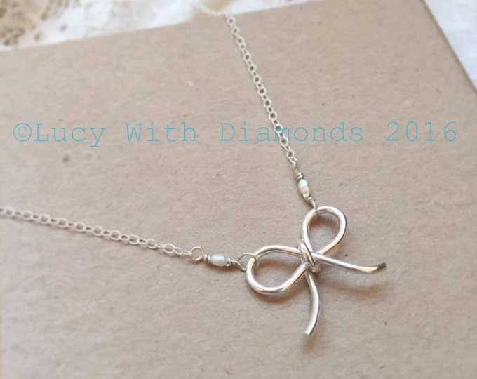 Bow necklace sterling silver freshwater pearl ideal for Bridesmaid Gift