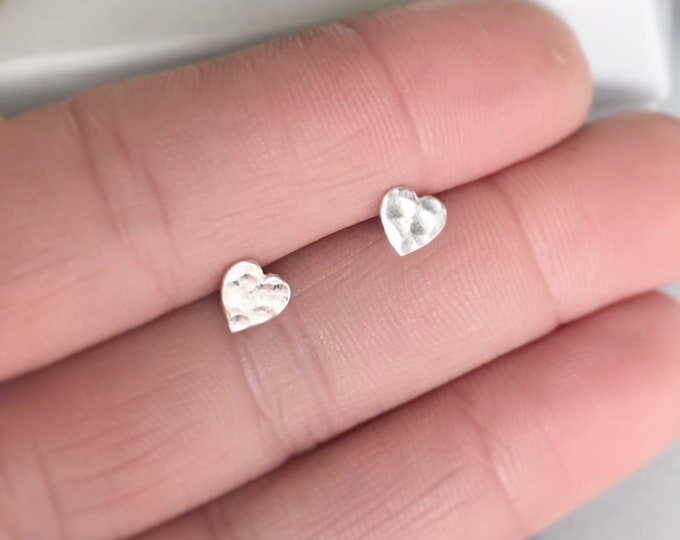 Sterling silver hammered finish heart stud earrings valentines