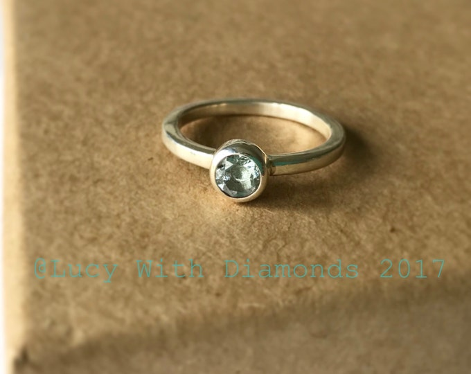 Aquamarine stacking ring in sterling silver March birthstone polished silver