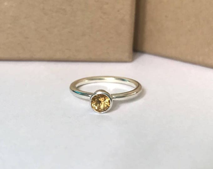 Citrine sterling silver stacking ring