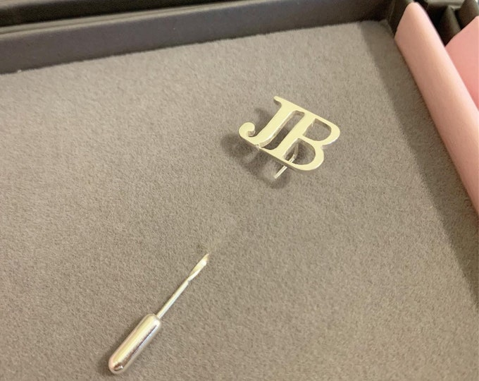 Initial tie pin personalised in sterling silver grooms gift