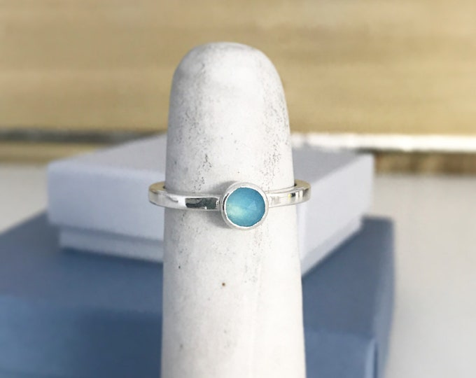 Aqua blue chalcedony stacking ring in sterling silver
