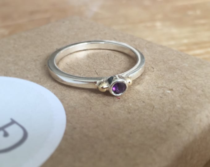 Amethyst stacking ring in silver with gold bead detail