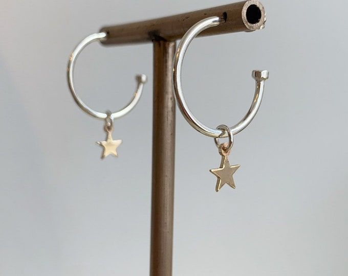 Sterling silver hoop earrings with 9ct yellow gold stars