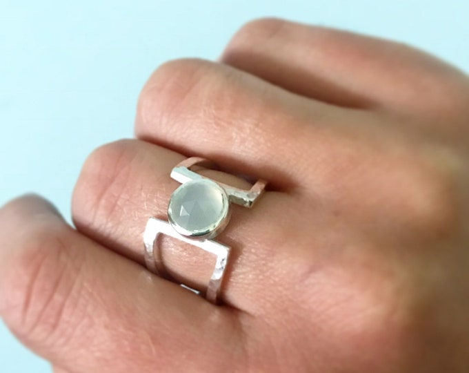 Blue chalcedony dress ring in sterling silver hammered finish