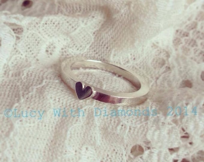 Sterling silver stacking ring with delicate heart