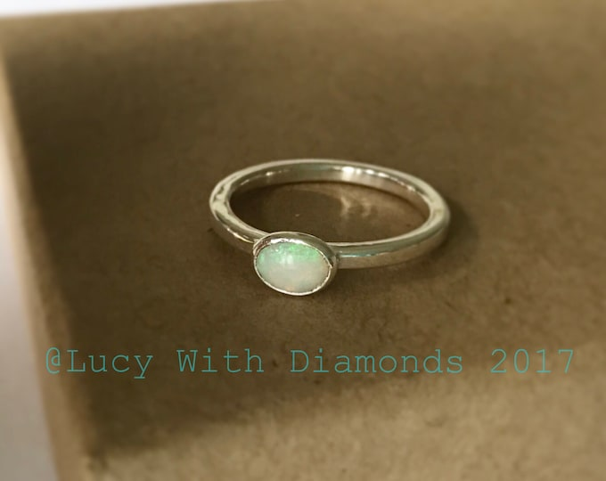 Opal stacking ring in sterling silver October birthstone polished silver
