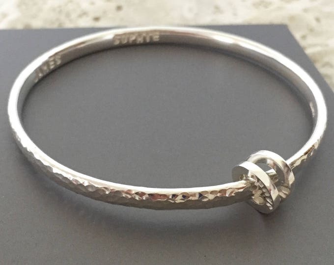 Sterling silver personalised bangle hammered finish with personalised loop for name or date