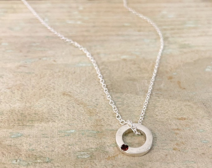 Dainty loop Birthstone Necklace in silver
