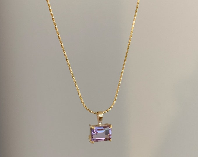 Amethyst 9ct yellow gold pendnat on soiga chain