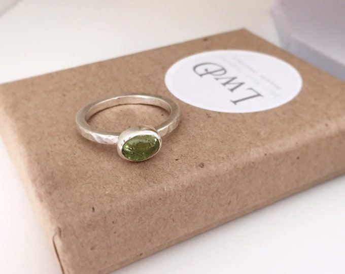 Hammered sterling silver stacking ring with peridot cabochon gemstone