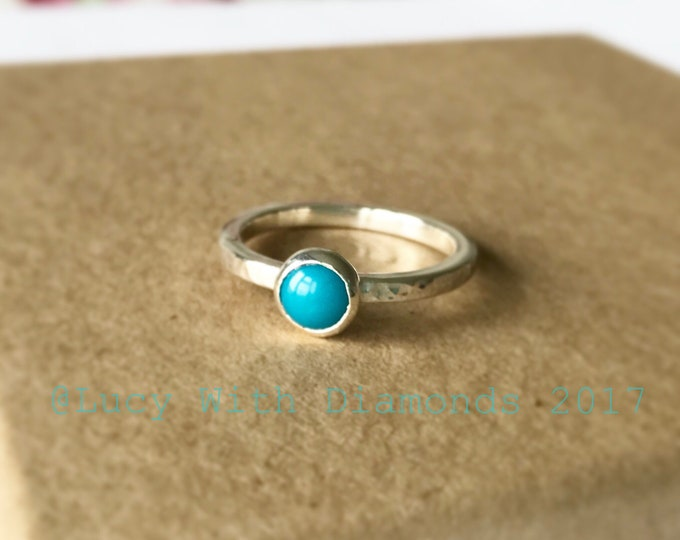 Turquoise stacking ring in sterling silver December birthstone hammered silver