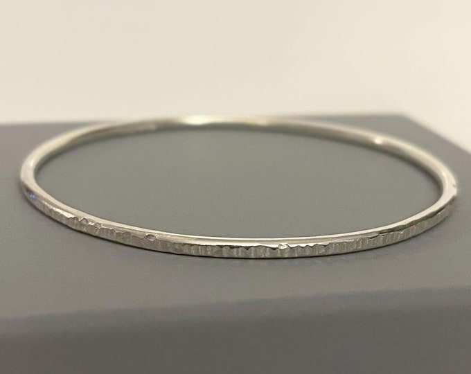 Textured sterling silver bangle Mothers Day