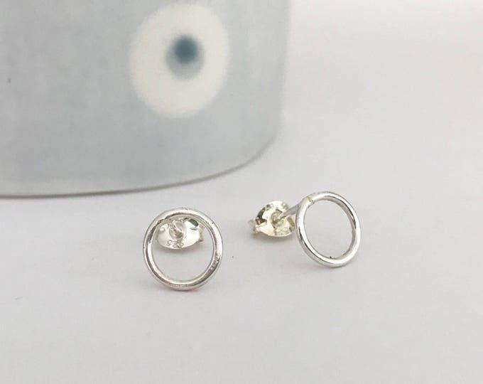 Circle stud earrings in polished finish loop earrings